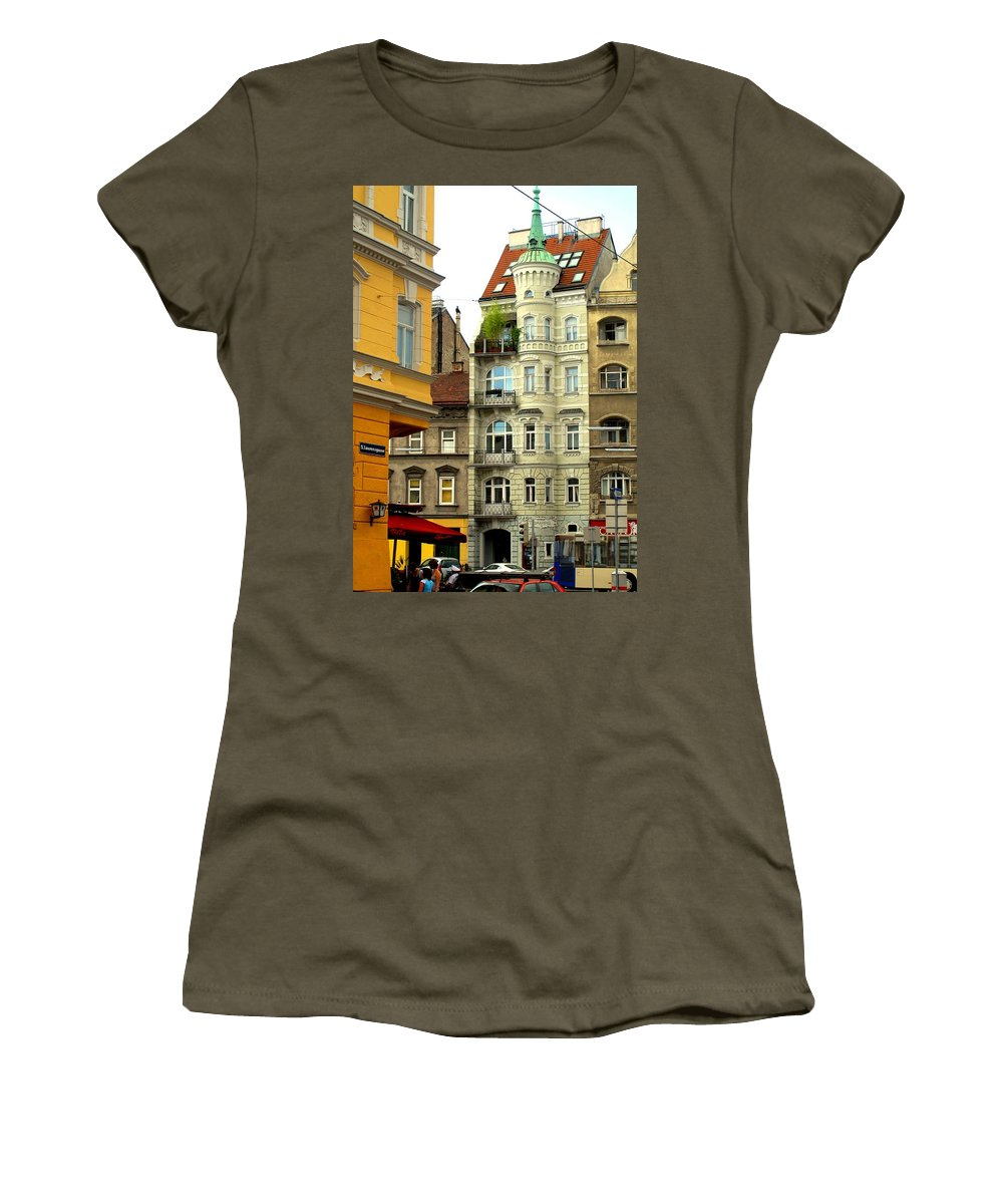 Vienna Women's T-Shirt (Athletic Fit) featuring the photograph Elegant Vienna Apartment Building by Ian MacDonald