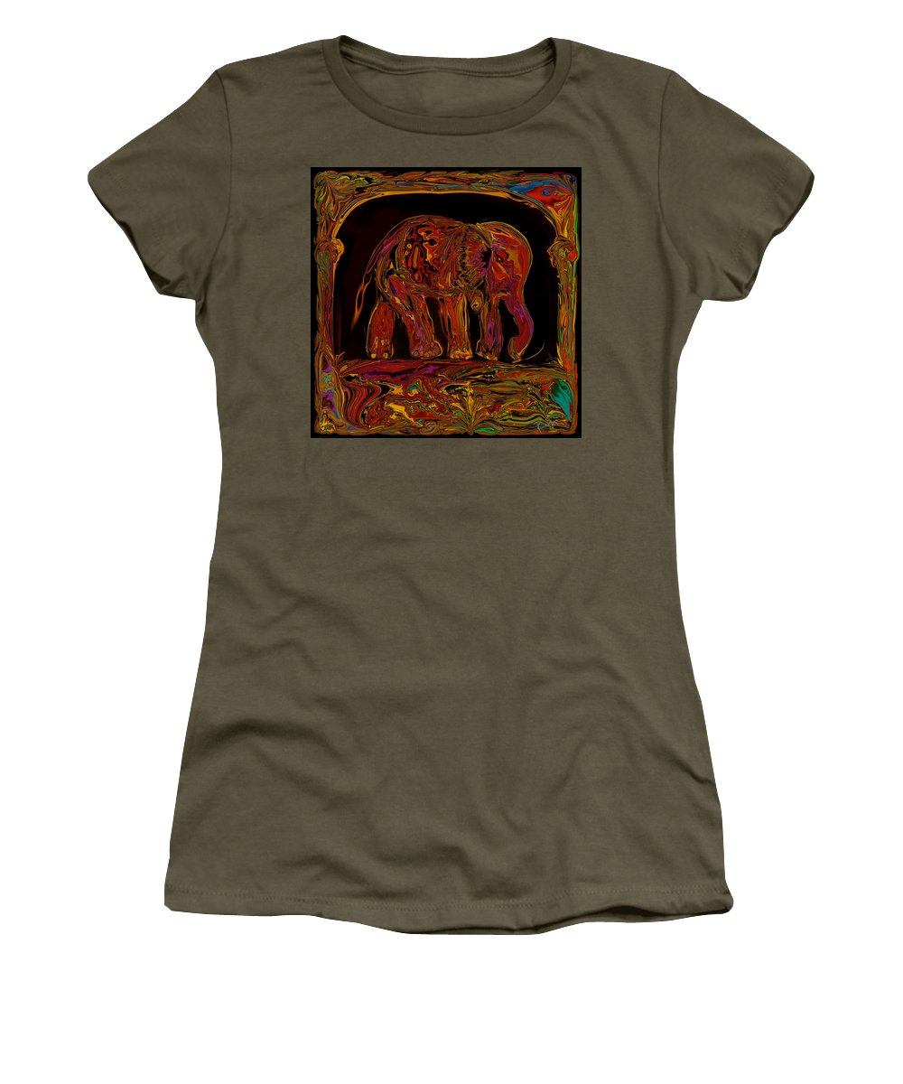 Animal Women's T-Shirt (Athletic Fit) featuring the digital art Elephant by Rabi Khan