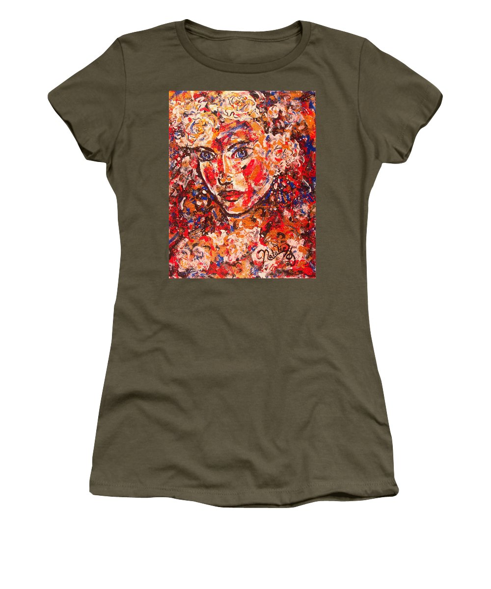 Female Women's T-Shirt (Athletic Fit) featuring the painting Elizabeth by Natalie Holland