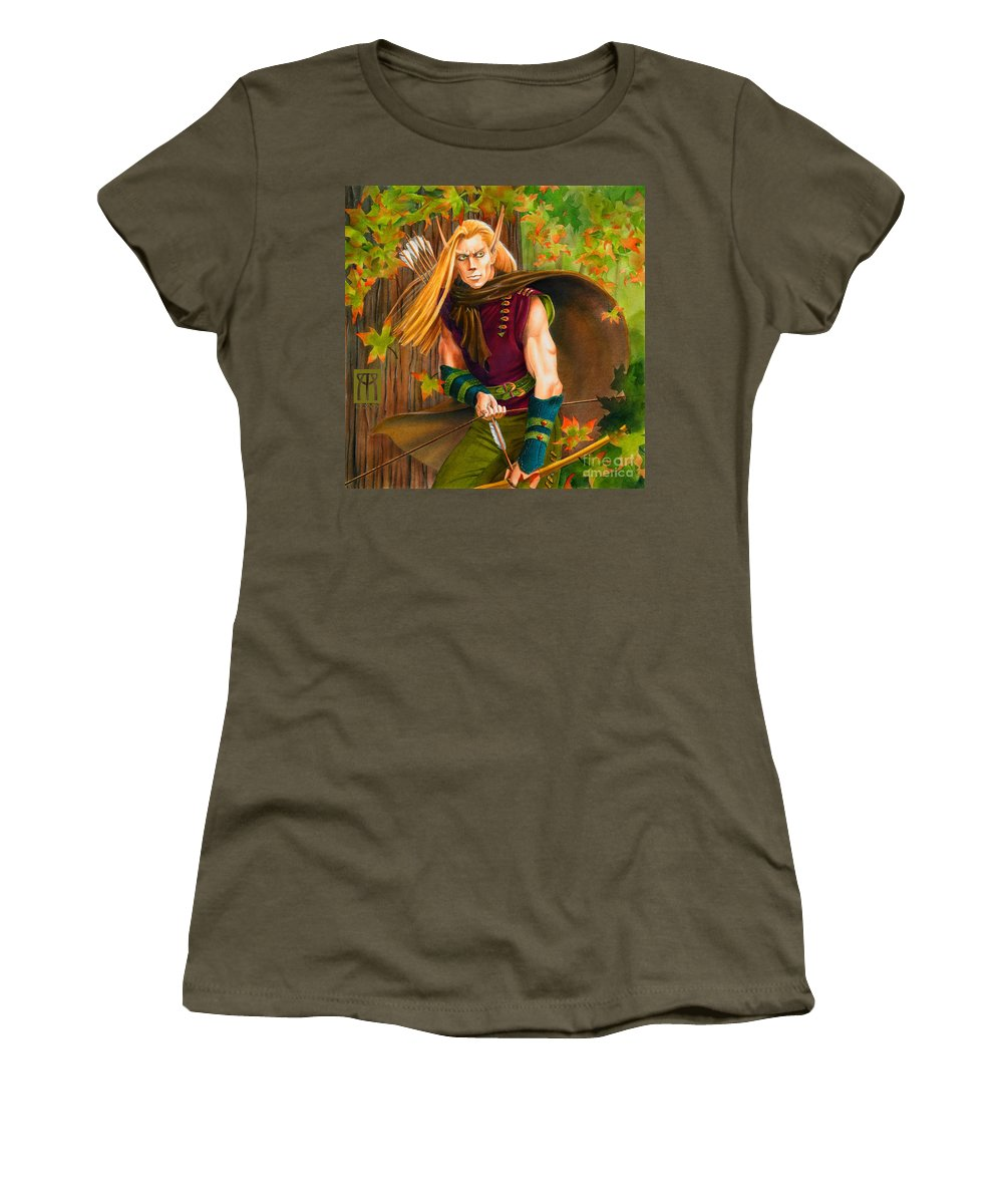 Elf Women's T-Shirt (Athletic Fit) featuring the painting Elven Hunter by Melissa A Benson