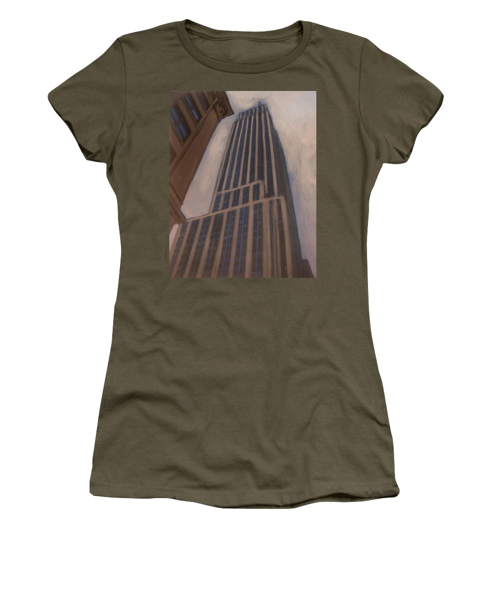 Empire State Building Women's T-Shirt featuring the mixed media Empire State Building 1 by Anita Burgermeister