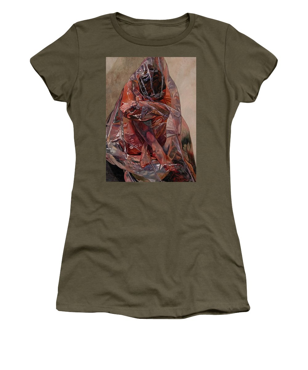 Nude Women's T-Shirt (Athletic Fit) featuring the painting Encompassed by Valerie Patterson