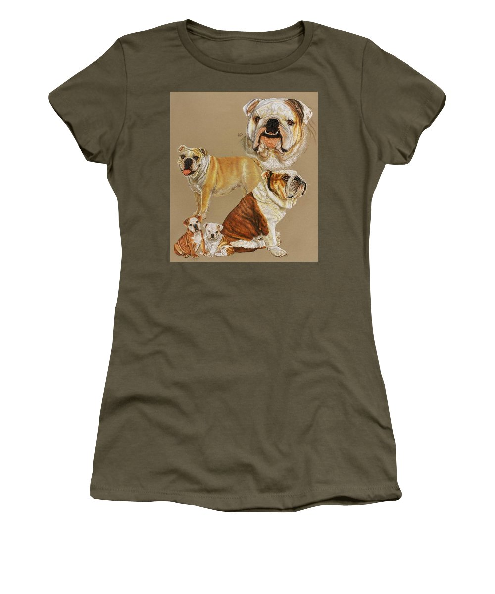 Purebred Women's T-Shirt (Athletic Fit) featuring the drawing English Bulldog by Barbara Keith