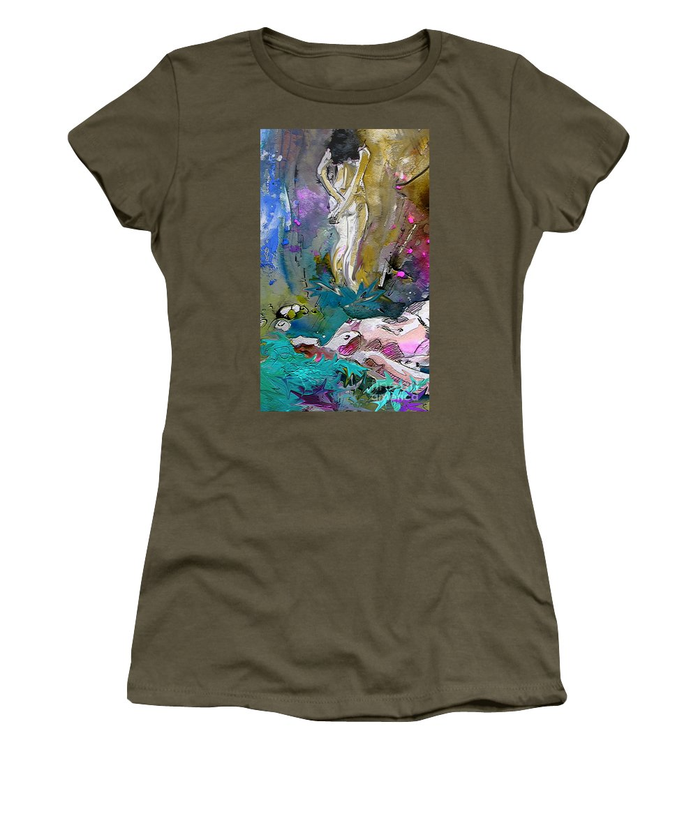 Miki Women's T-Shirt (Athletic Fit) featuring the painting Eroscape 1104 by Miki De Goodaboom