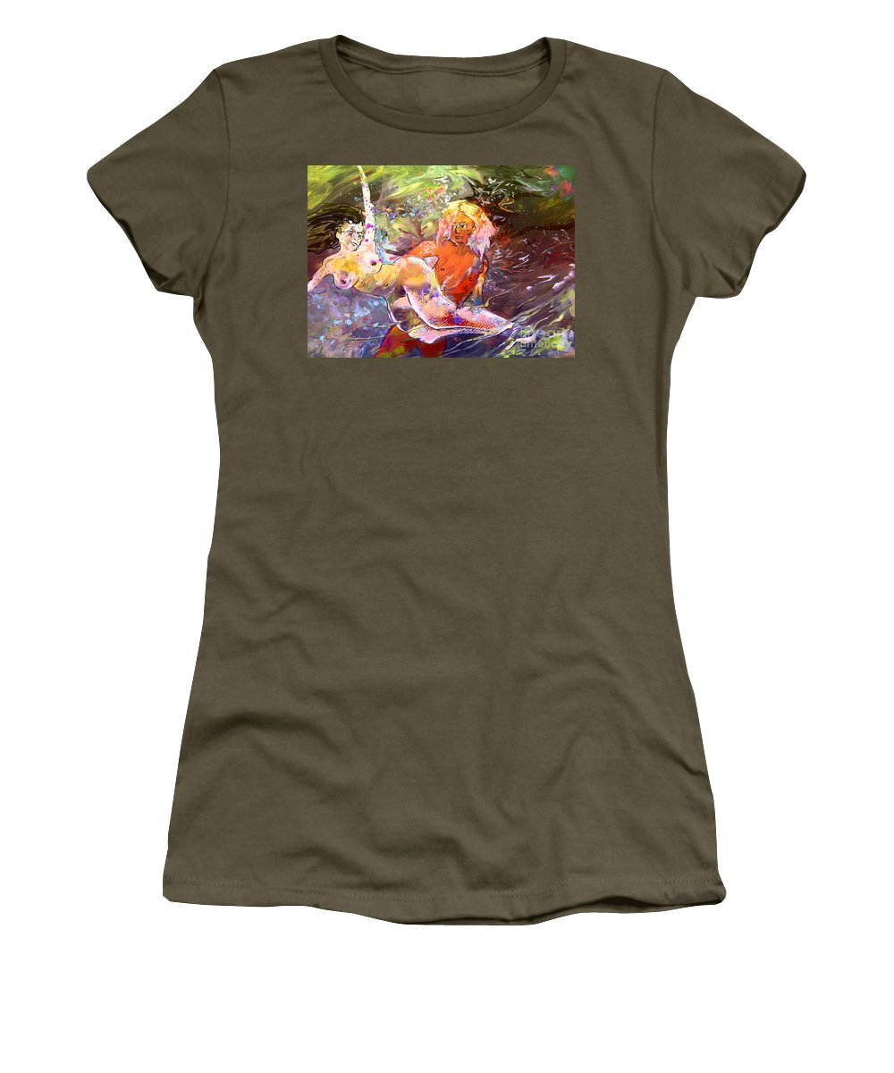 Miki Women's T-Shirt (Athletic Fit) featuring the painting Erotype 06 1 by Miki De Goodaboom
