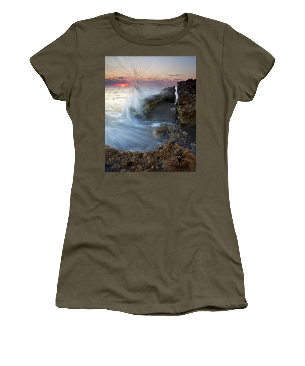 Blowing Rocks Women's T-Shirt (Athletic Fit) featuring the photograph Eruption At Dawn by Mike Dawson