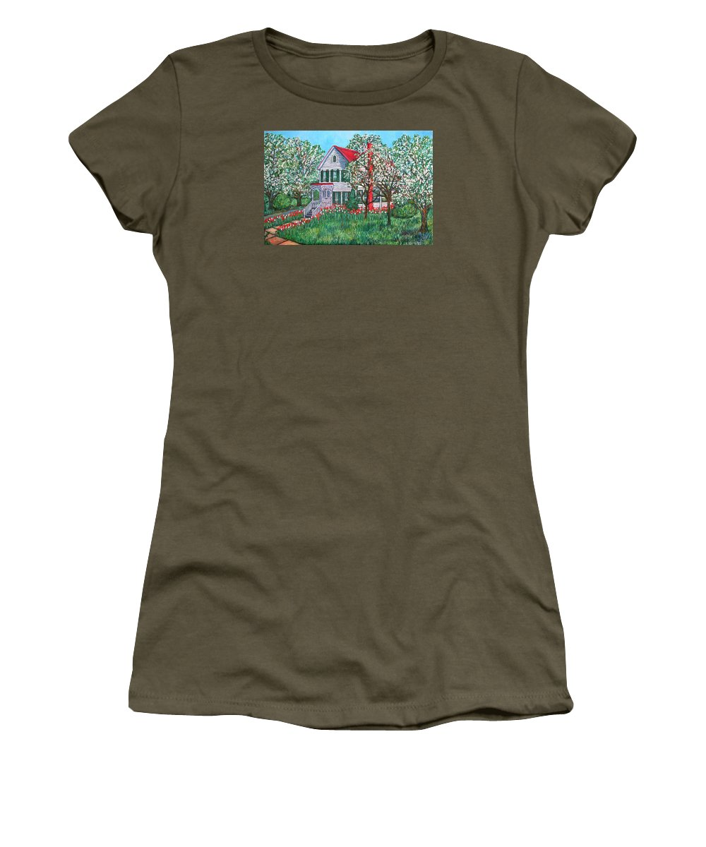 Home Women's T-Shirt (Athletic Fit) featuring the painting Esther's Home by Kendall Kessler
