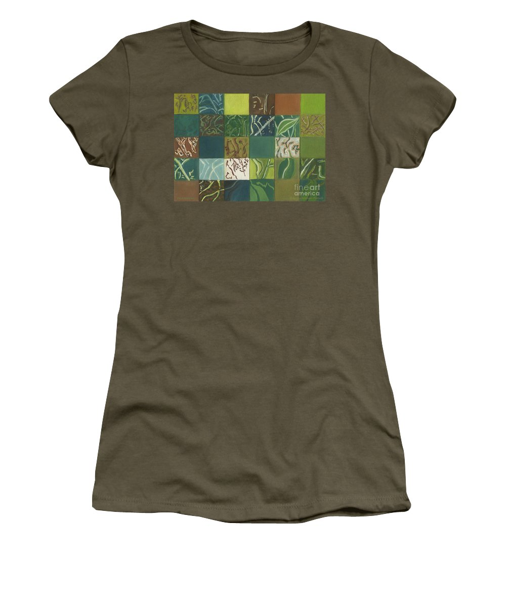 Eucalyptus Women's T-Shirt (Athletic Fit) featuring the painting Euca Abstract I by Kerryn Madsen-Pietsch