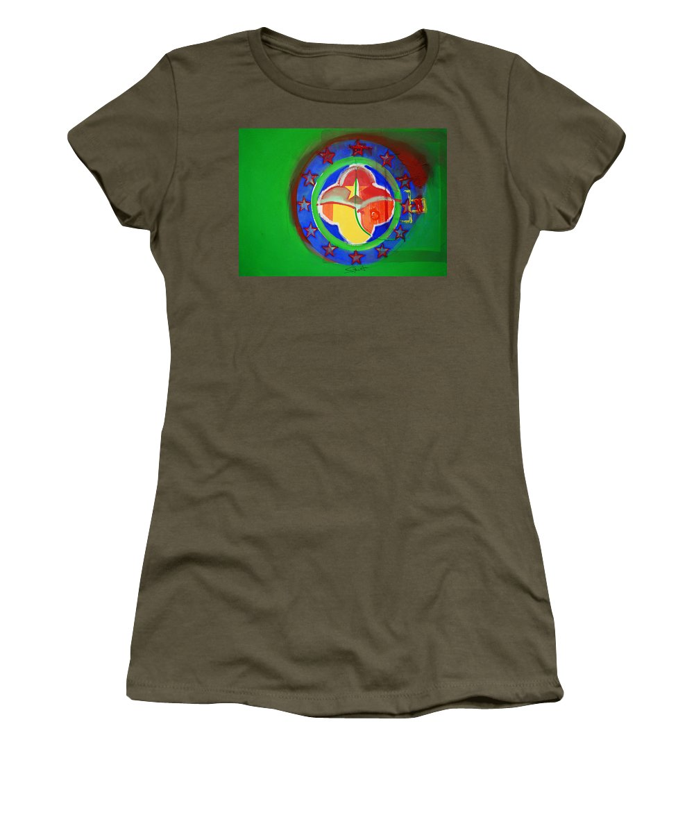 Symbol Women's T-Shirt (Athletic Fit) featuring the painting Euromarine by Charles Stuart
