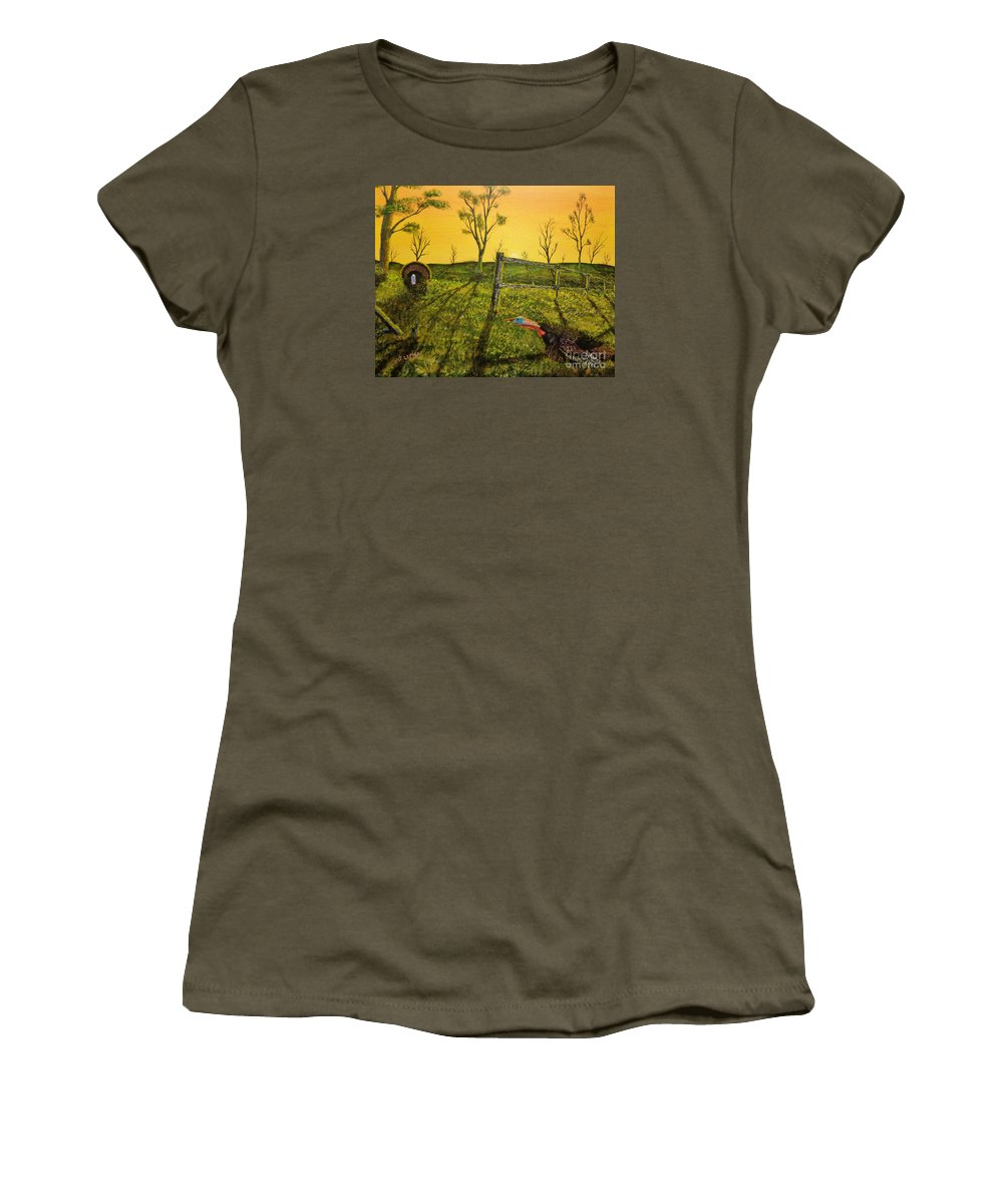 Jack Women's T-Shirt featuring the painting Evening Dual by Jack Lepper
