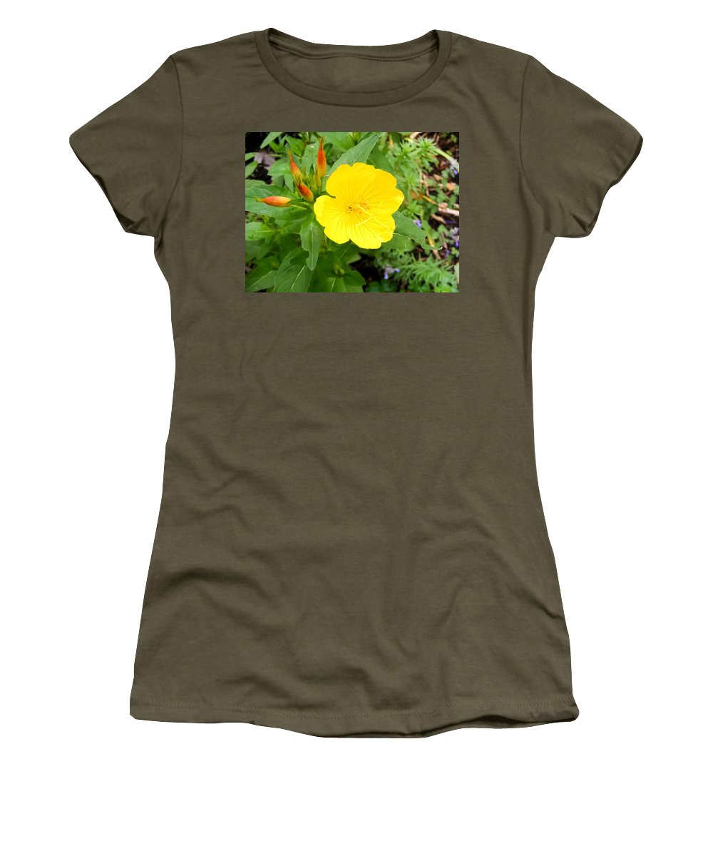 Yellow Sundrop Women's T-Shirt (Athletic Fit) featuring the photograph Yellow Sundrop by Cynthia Woods