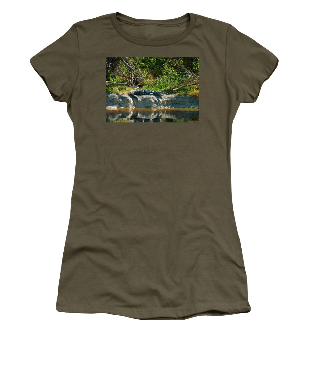 Everglades National Park Women's T-Shirt (Athletic Fit) featuring the photograph Everglades Crocodile by David Lee Thompson