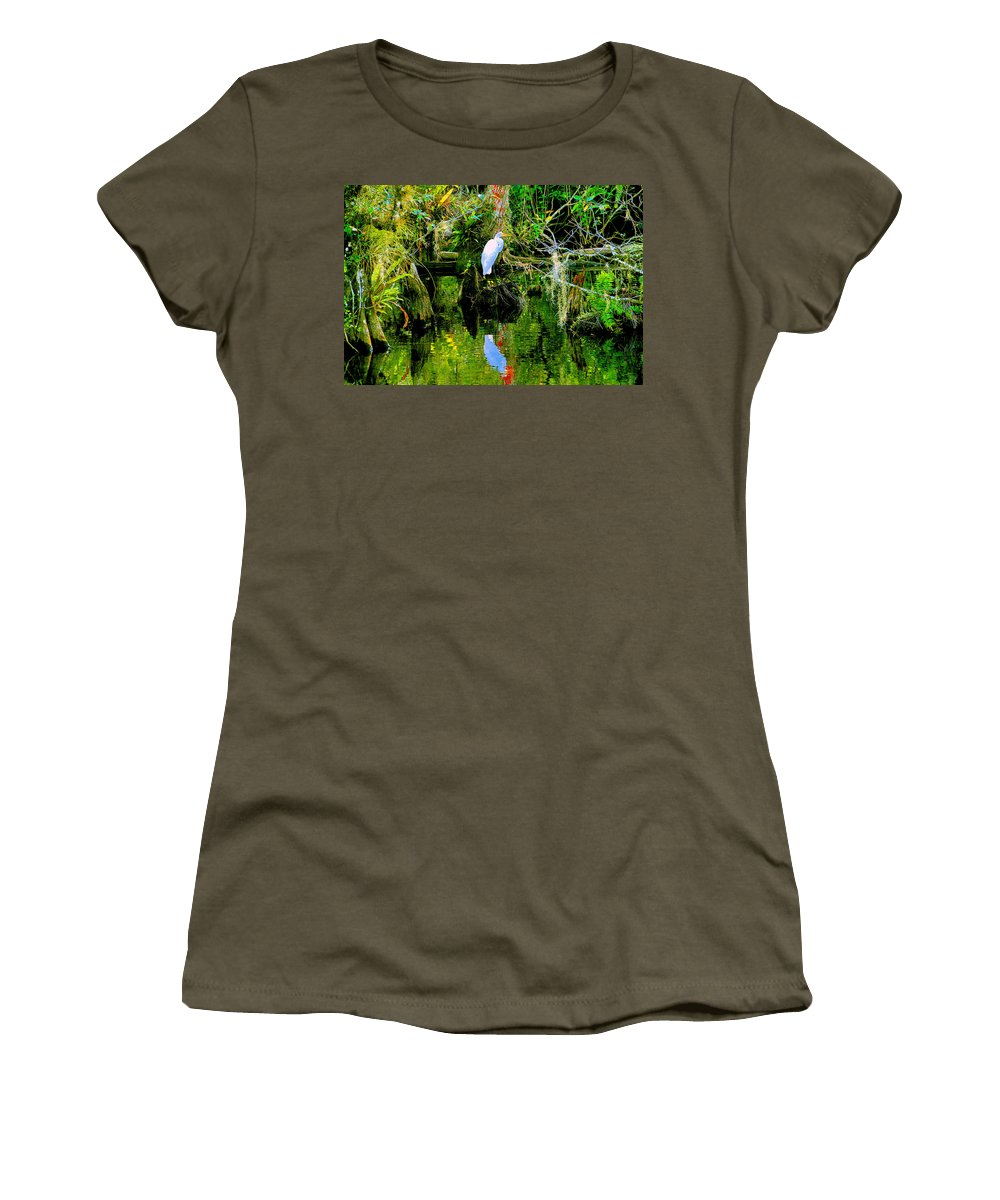 Everglades Women's T-Shirt featuring the painting Everglades Egret by David Lee Thompson