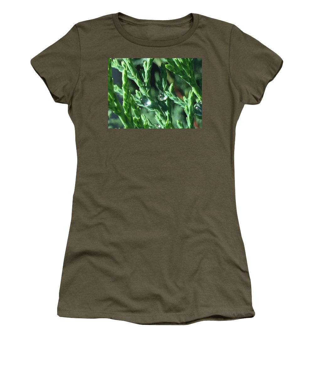 Evergreen Green Dew Drops Nature Reflection Macro Light Sunlight Crystal Women's T-Shirt featuring the photograph Evergreen Dew by Russell Keating