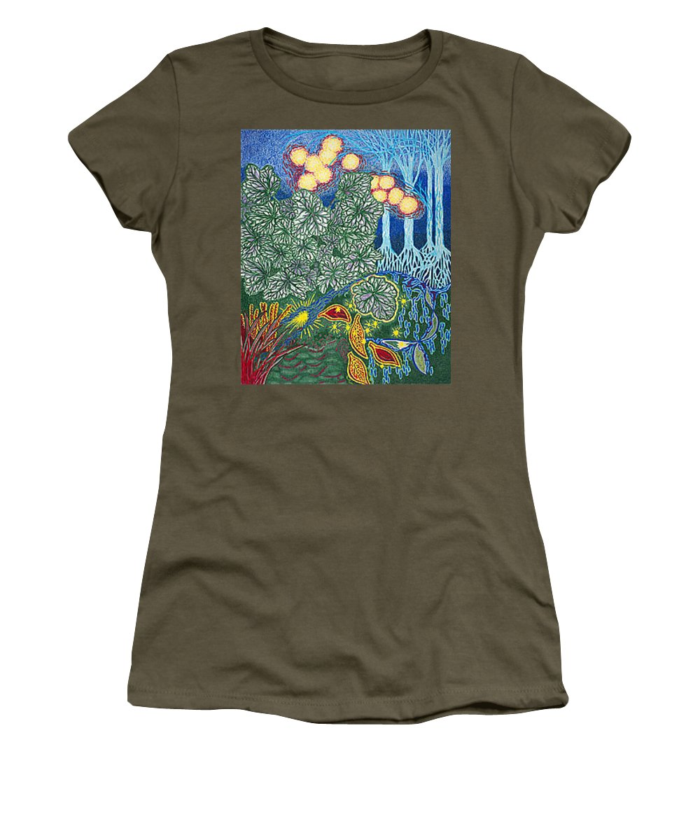 Art Women's T-Shirt (Athletic Fit) featuring the drawing Exciting Harmony Art Prints And Gifts Autumn Leaves Botanical Garden Park Plants by Baslee Troutman