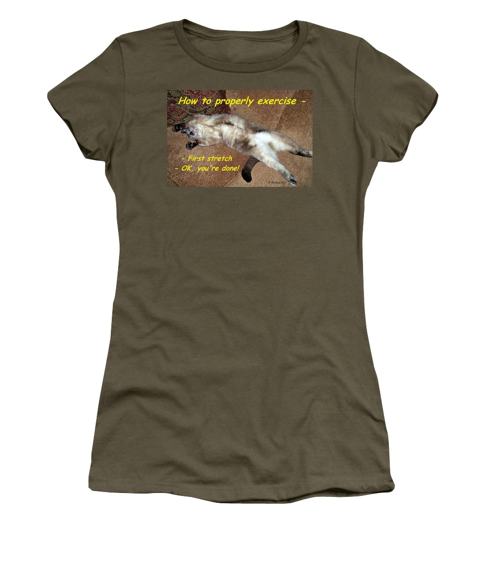 Animals Women's T-Shirt (Athletic Fit) featuring the photograph Exercise 101 by Betty Northcutt