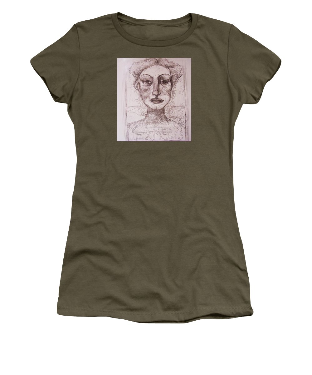 Drawing Women's T-Shirt featuring the drawing EXP by Mykul Anjelo