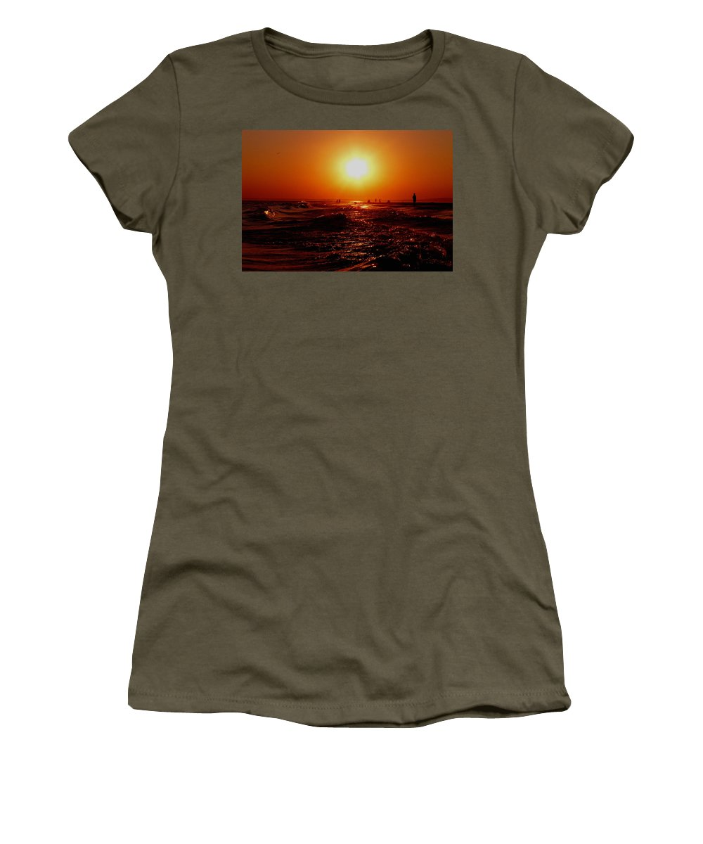 Beach Women's T-Shirt (Athletic Fit) featuring the photograph Extreme Blazing Sun by Kendall Eutemey