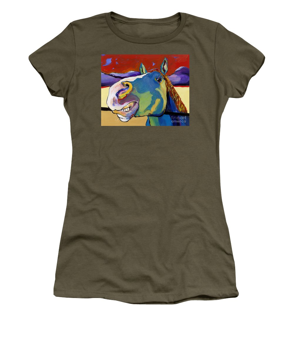 Animal Painting Women's T-Shirt featuring the painting Eye To Eye by Pat Saunders-White