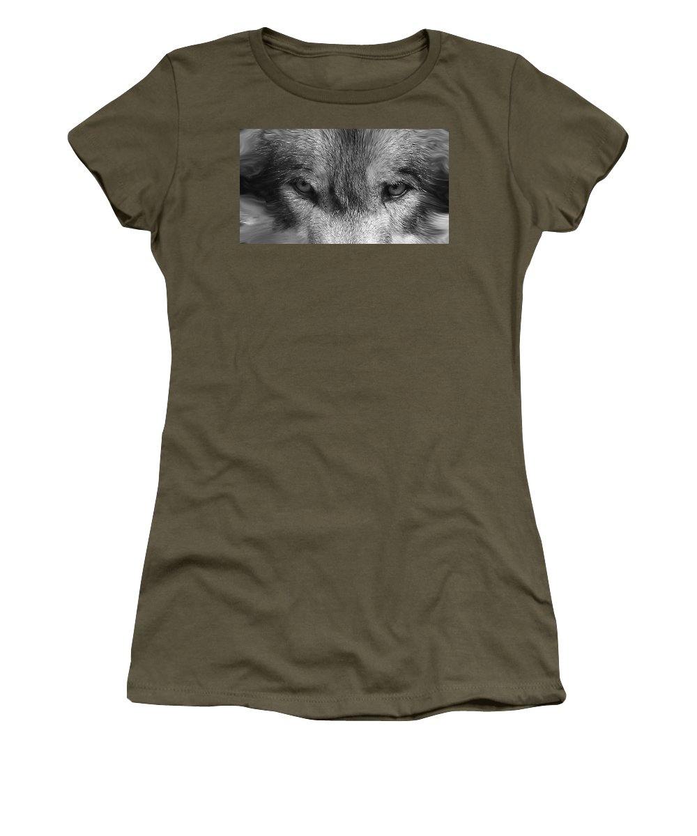 Wolf Canid Canus Lupis Wildlife Grey Gray Timberwolf Animal Mammal Photograph Photograhy Eyes Black White Desaturate Women's T-Shirt (Athletic Fit) featuring the photograph Eyes Of The Wild by Shari Jardina