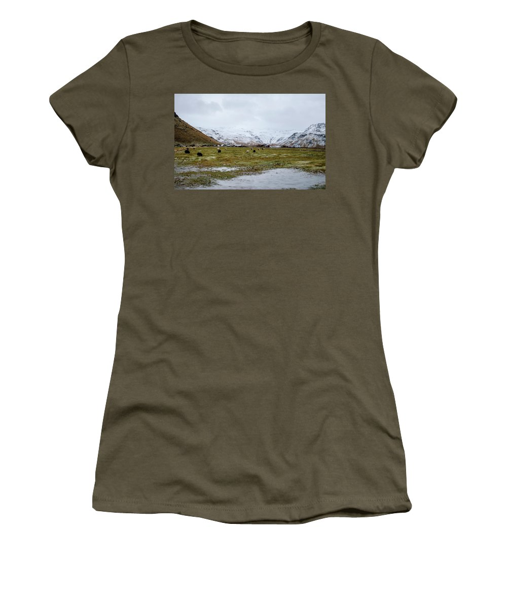 Iceland Women's T-Shirt featuring the photograph Eyjafjallajokull Iceland by Deborah Smolinske