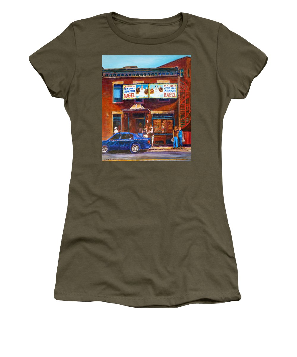 Fairmount Bagel Women's T-Shirt (Athletic Fit) featuring the painting Fairmount Bagel With Blue Car by Carole Spandau