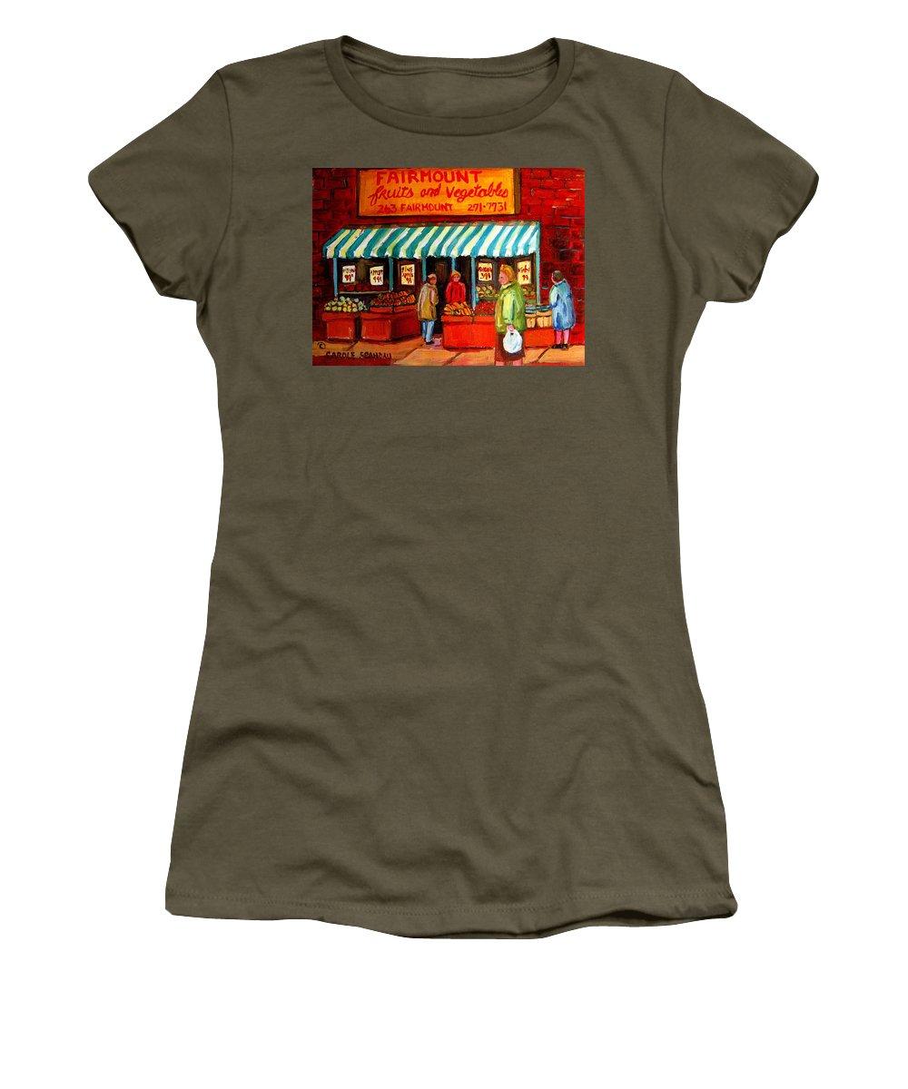 Fairmount Fruits And Vegetables Women's T-Shirt featuring the painting Fairmount Fruit And Vegetables by Carole Spandau