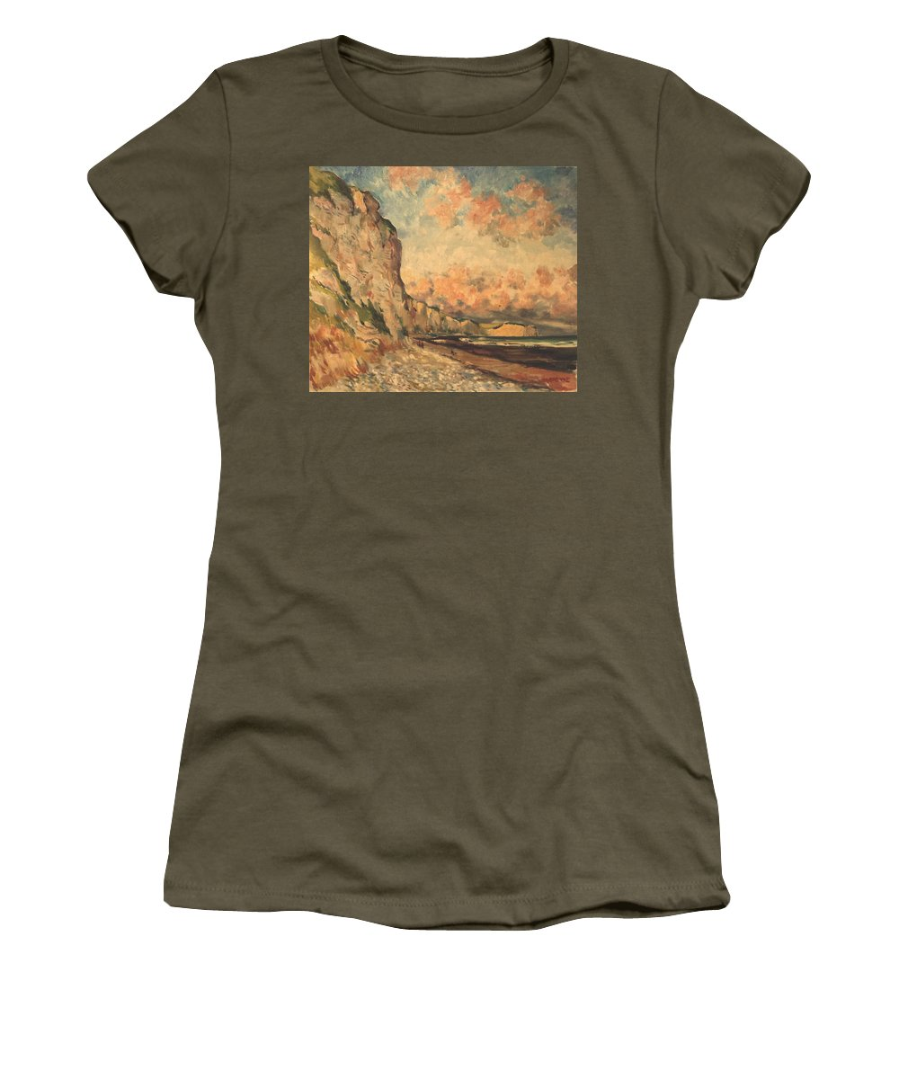 Women's T-Shirt featuring the painting Falaises A Fecamp by Claude HARDENNE