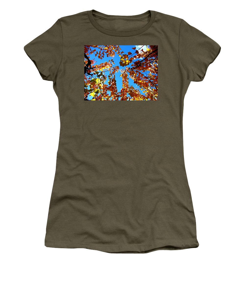 Apricot Leaves Women's T-Shirt featuring the photograph Fall Apricot Leaves by Will Borden
