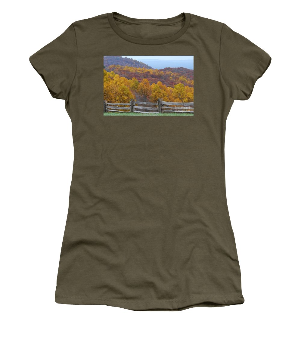 Fence Women's T-Shirt featuring the photograph Fall Blend by Eric Liller
