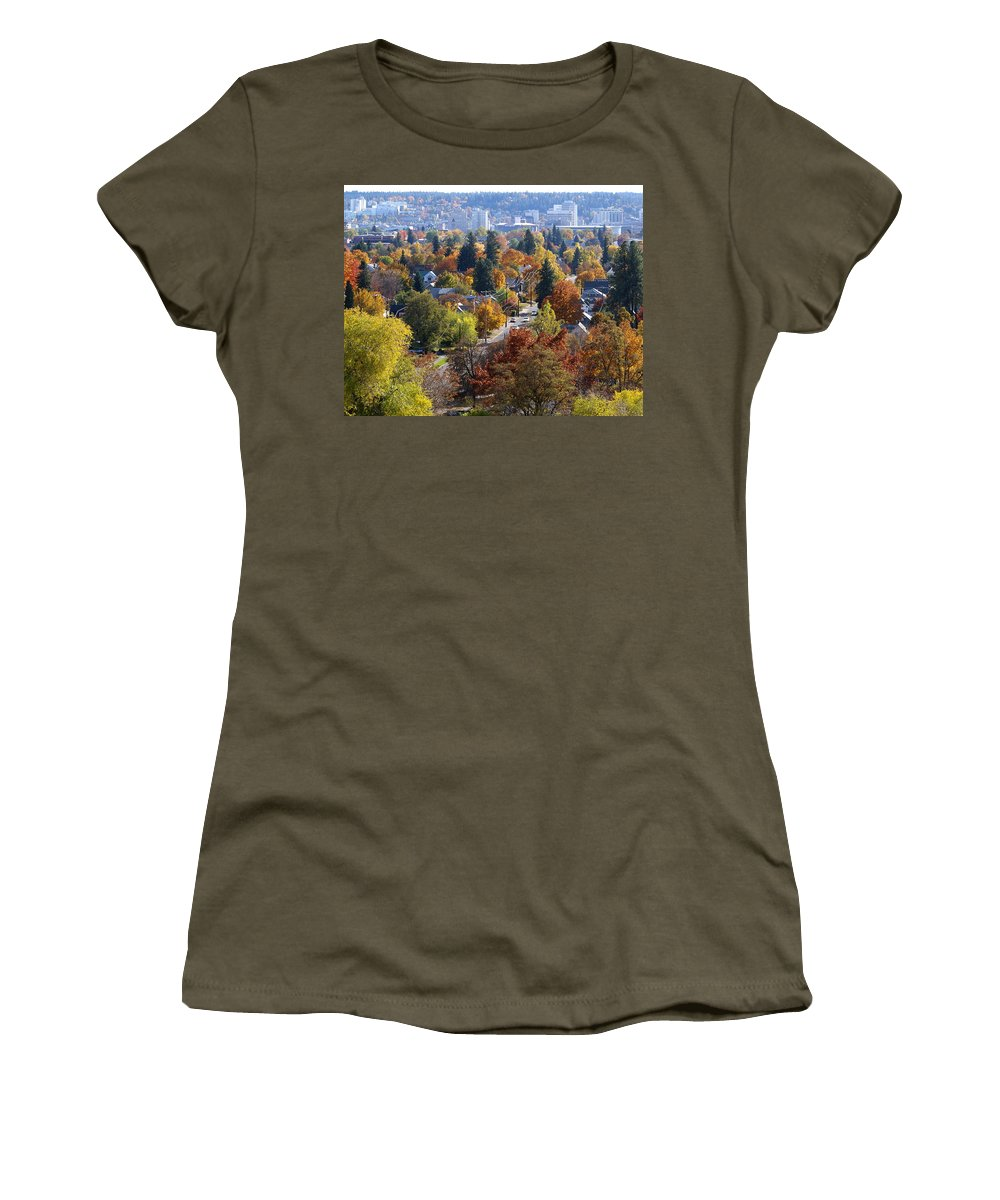 Fall Colors Women's T-Shirt featuring the photograph Fall Colors In Spokane From The Post Street Hill by Ben Upham III