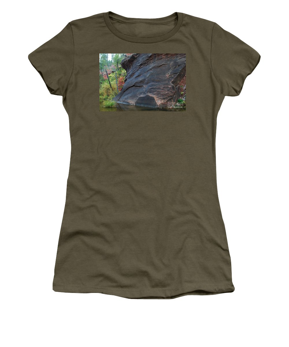 Photo Women's T-Shirt featuring the photograph Fall Colors Peek Around Mountain Horizontal Number 1 by Heather Kirk