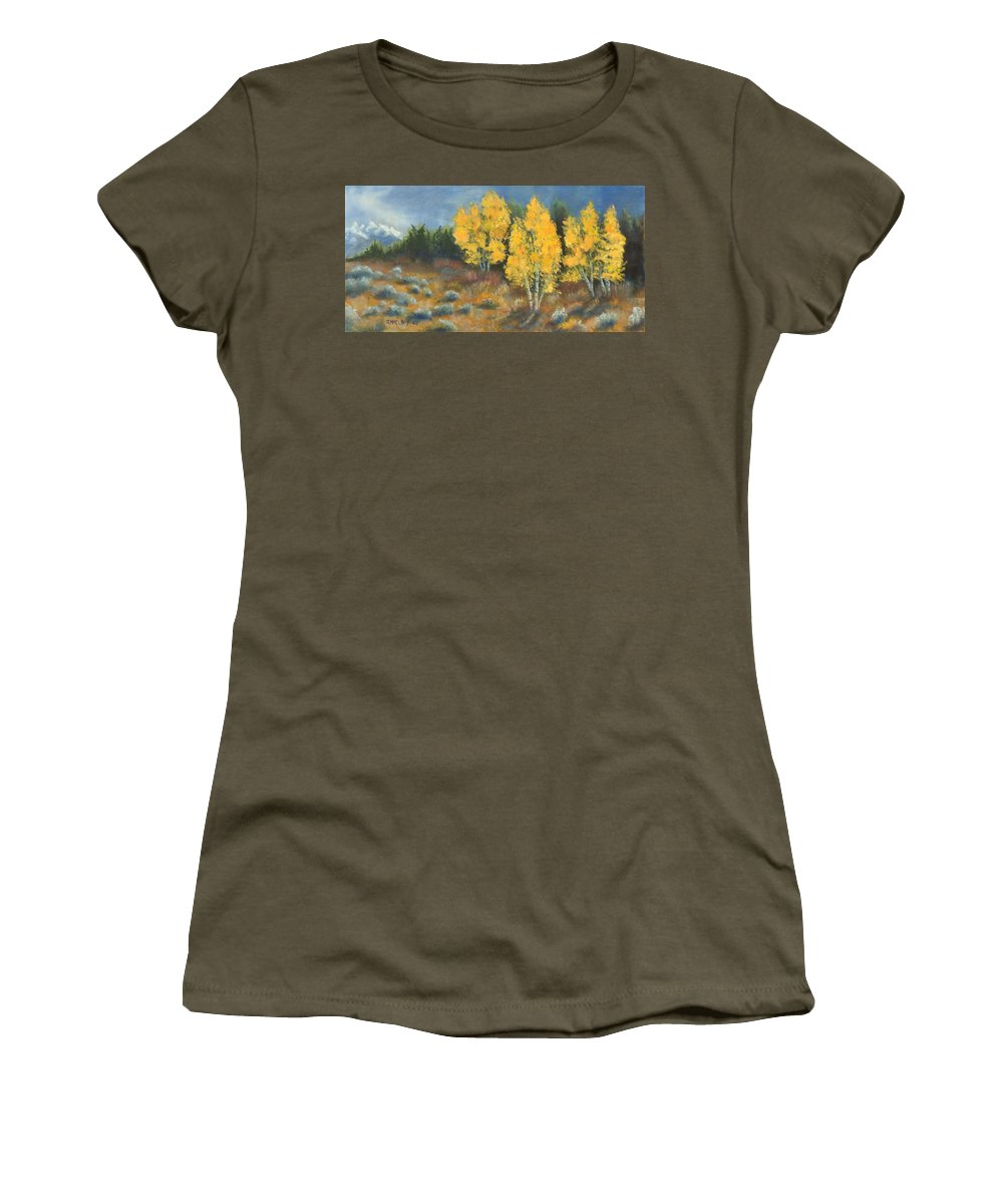 Landscape Women's T-Shirt featuring the painting Fall Delight by Jerry McElroy