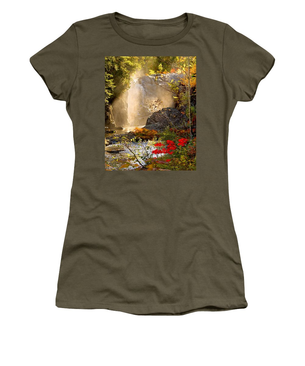 Fall Women's T-Shirt (Athletic Fit) featuring the photograph Fall Falls Mist Dead River Falls Marquette Mi by Michael Bessler