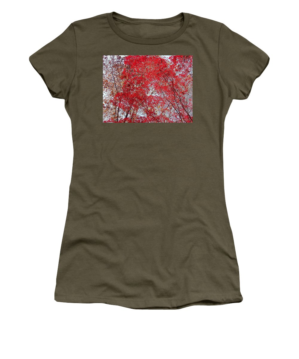 Leaves Women's T-Shirt (Athletic Fit) featuring the photograph Fall Foilage by Deborah Crew-Johnson