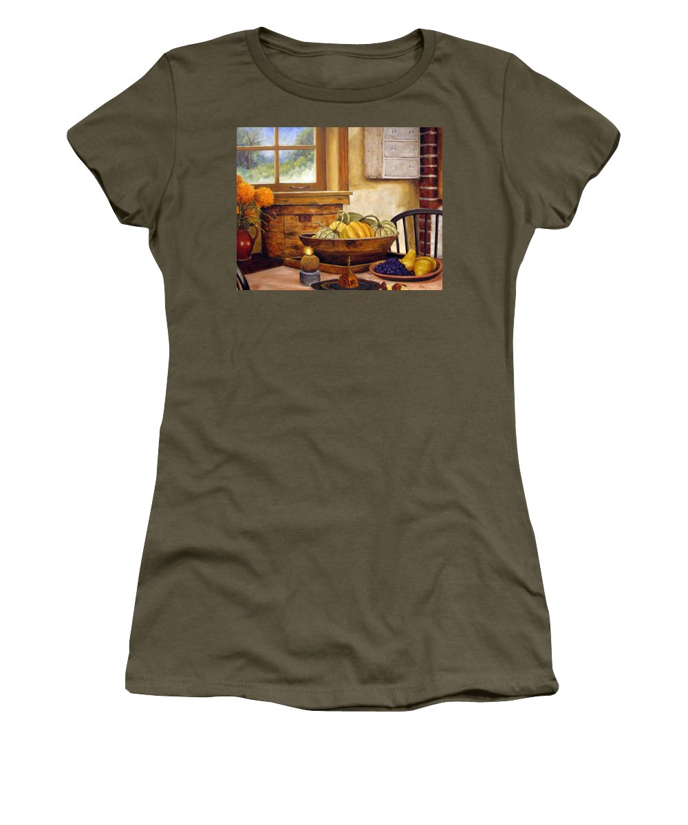 Fall Women's T-Shirt featuring the painting Fall Harvest by Richard T Pranke