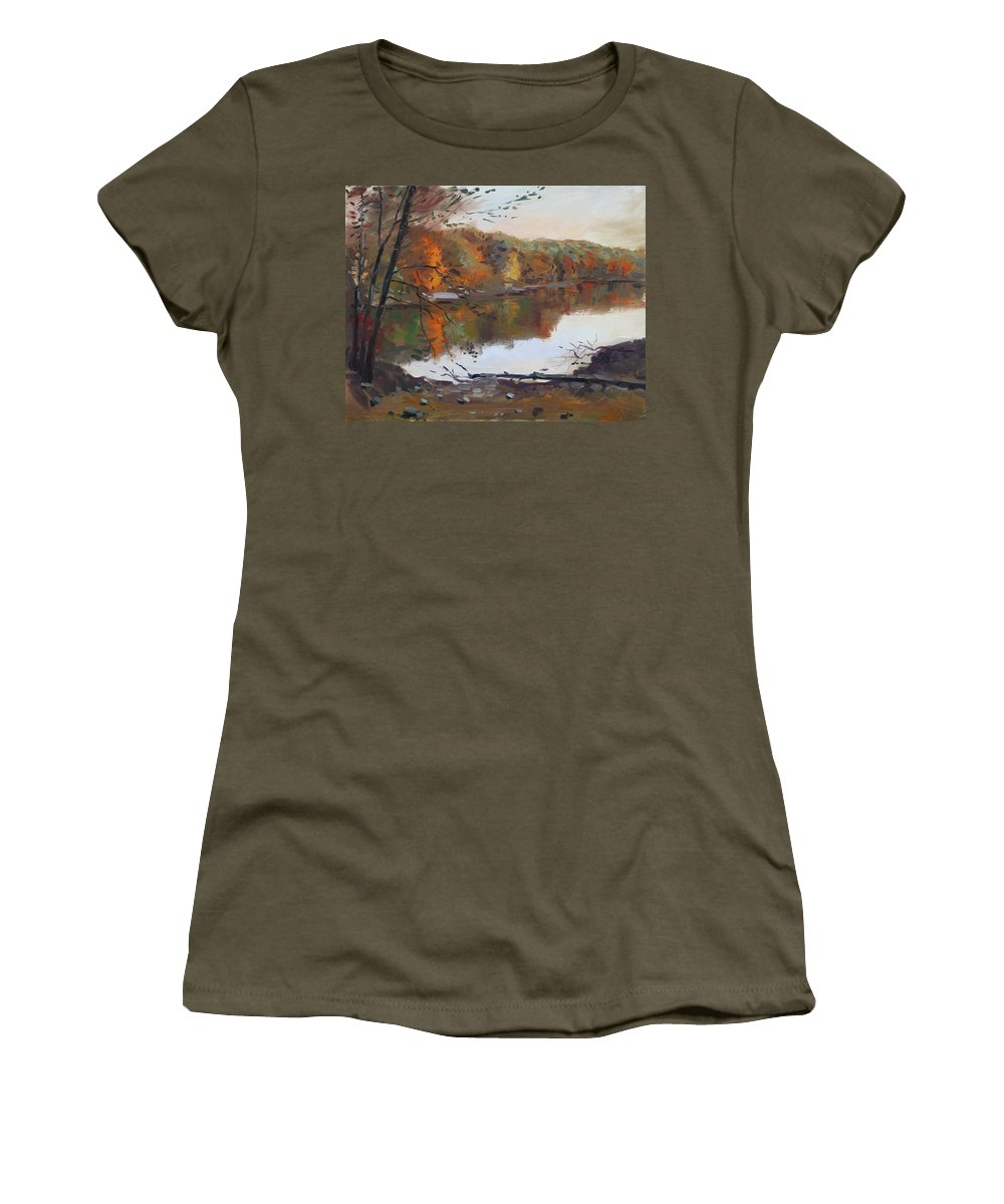 Landscape Women's T-Shirt featuring the painting Fall In 7 Lakes by Ylli Haruni