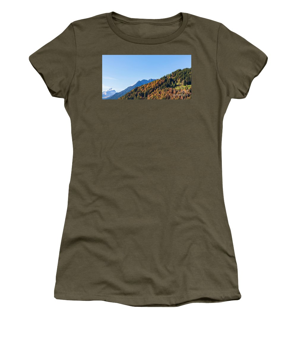 Architekture Women's T-Shirt (Athletic Fit) featuring the photograph Fall In Gstaad by Werner Dieterich