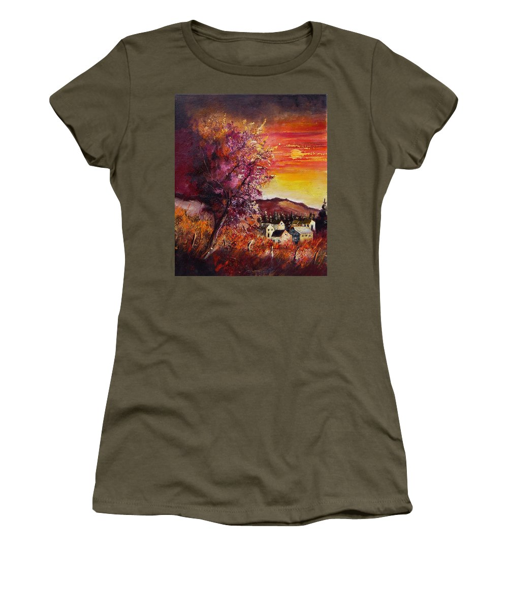 Autumn Women's T-Shirt (Athletic Fit) featuring the painting Fall In Villers by Pol Ledent