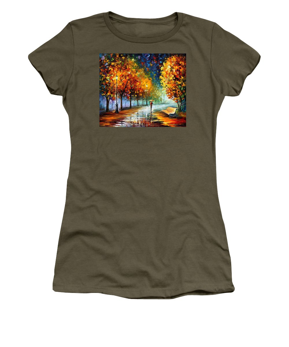 Afremov Women's T-Shirt featuring the painting Fall Marathon by Leonid Afremov