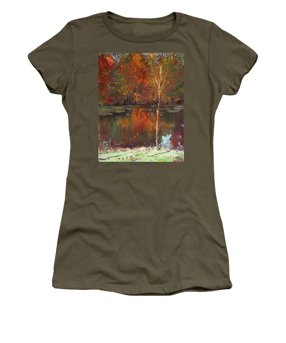 Landscape Women's T-Shirt featuring the painting Fall Reflection by Ylli Haruni