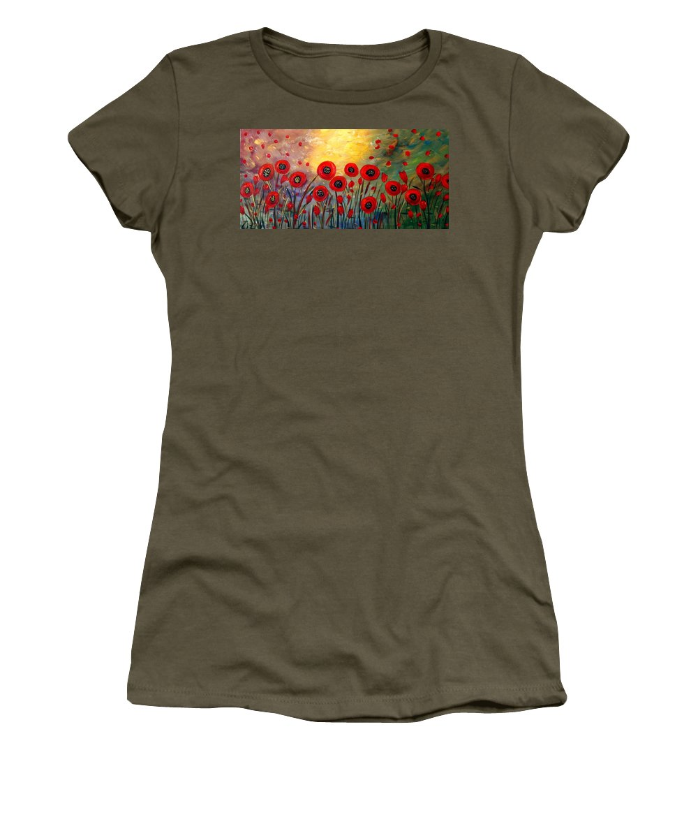 Flowers Women's T-Shirt featuring the painting Fall Time Poppies by Luiza Vizoli
