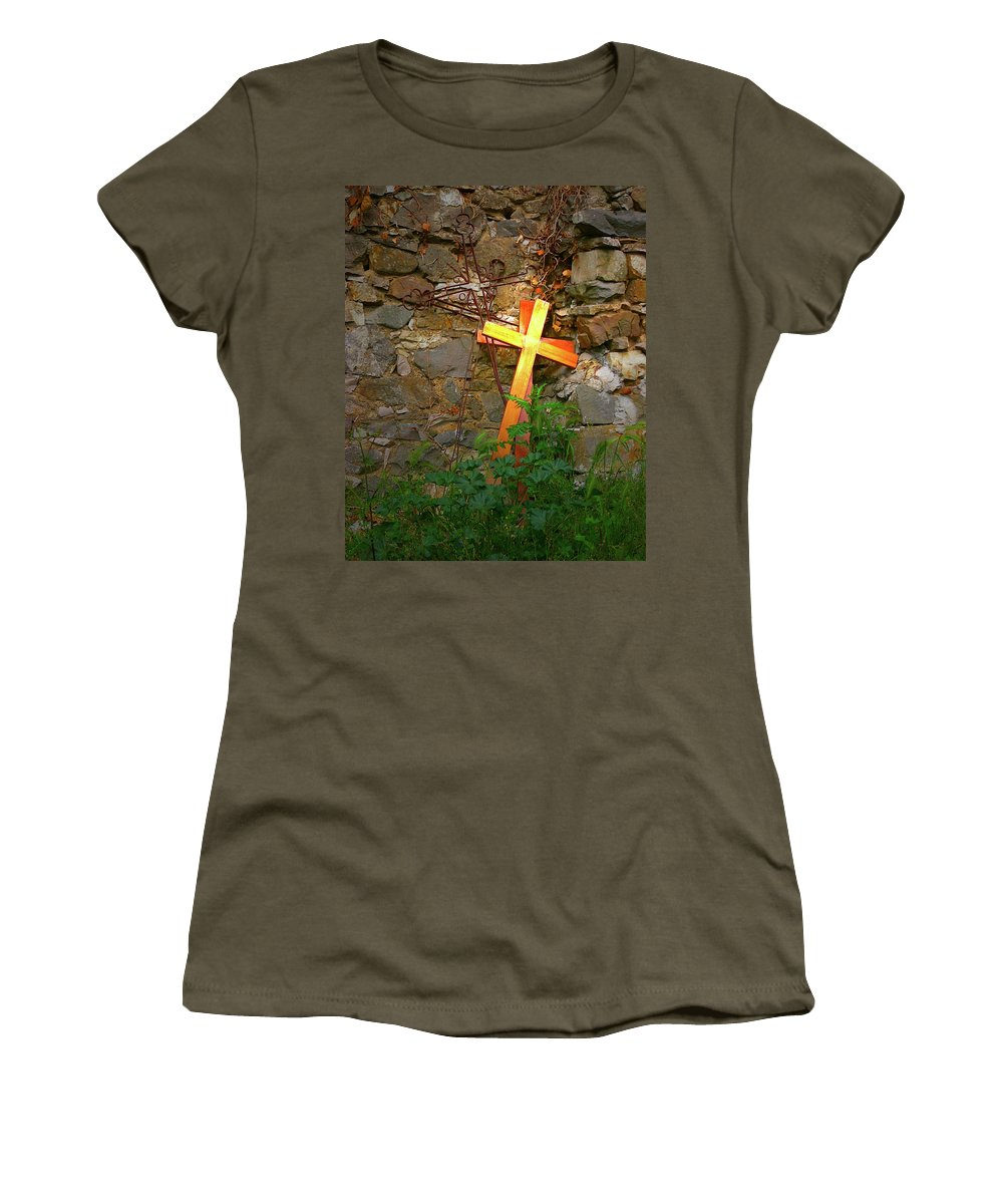Women's T-Shirt featuring the photograph Falling Crosses by Angela Wright