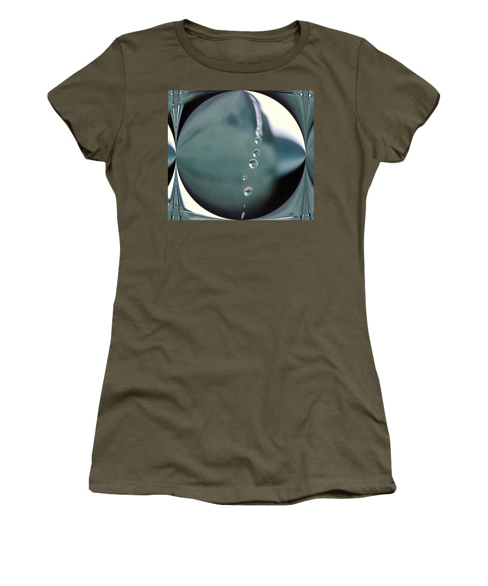 Water Women's T-Shirt (Athletic Fit) featuring the photograph Falling Droplets  by Jeff Swan