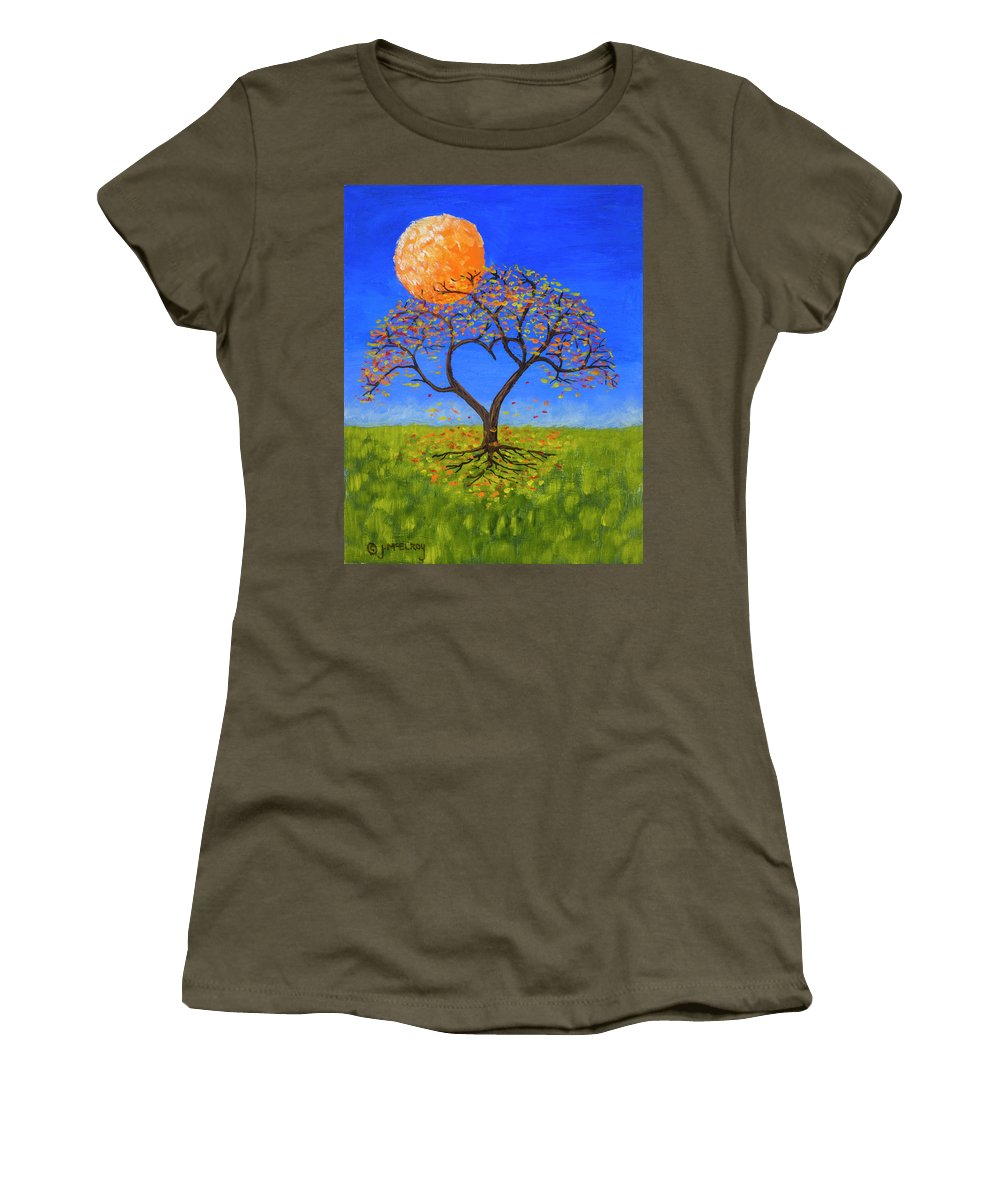 Love Women's T-Shirt (Athletic Fit) featuring the painting Falling For You by Jerry McElroy