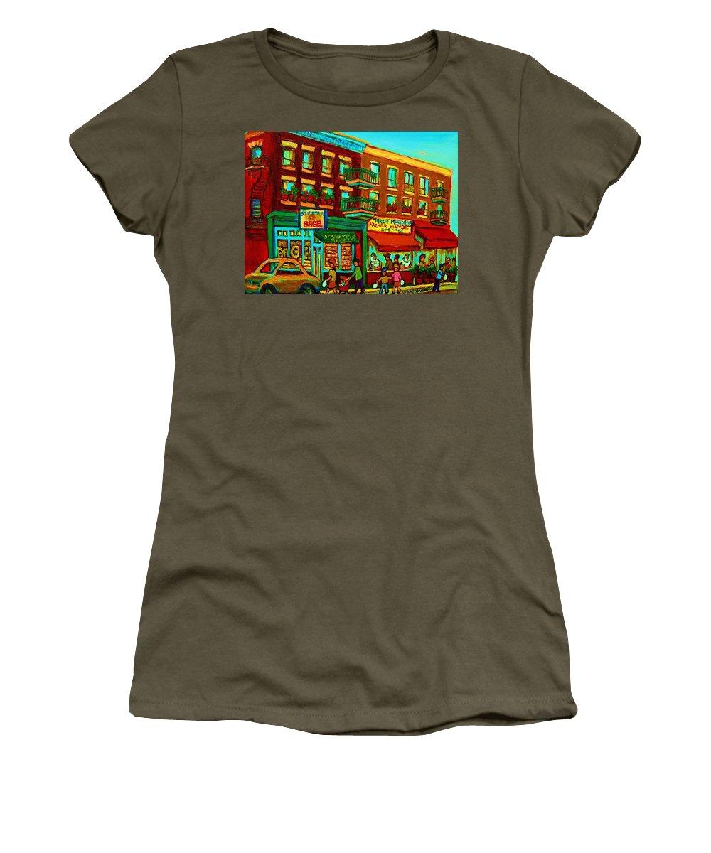 St Viateur Bagel Shop Montreal Street Scenes Women's T-Shirt featuring the painting Family Frolic On St.viateur Street by Carole Spandau