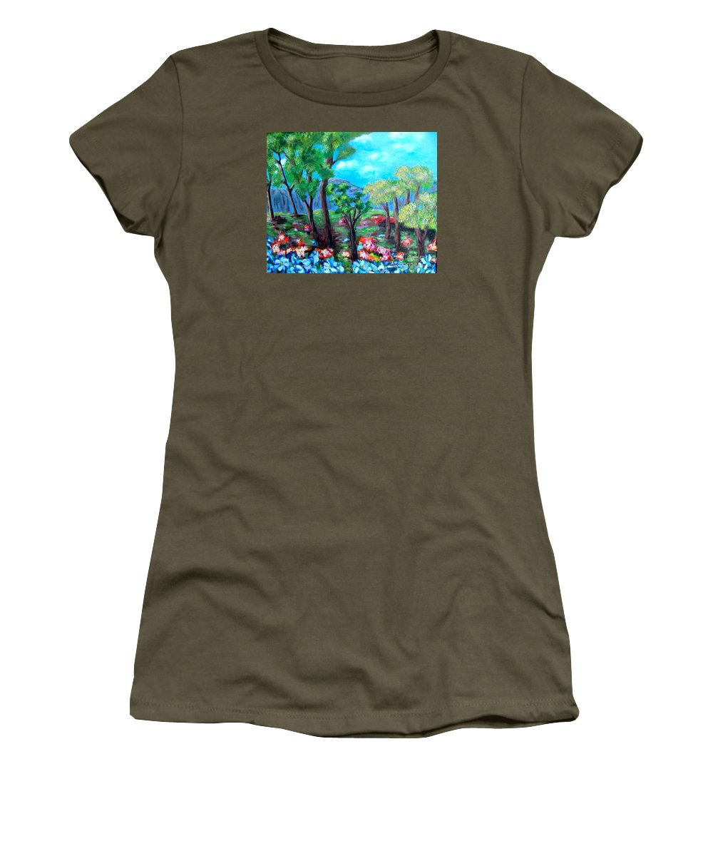 Fantasy Women's T-Shirt (Athletic Fit) featuring the painting Fantasy Forest by Laurie Morgan