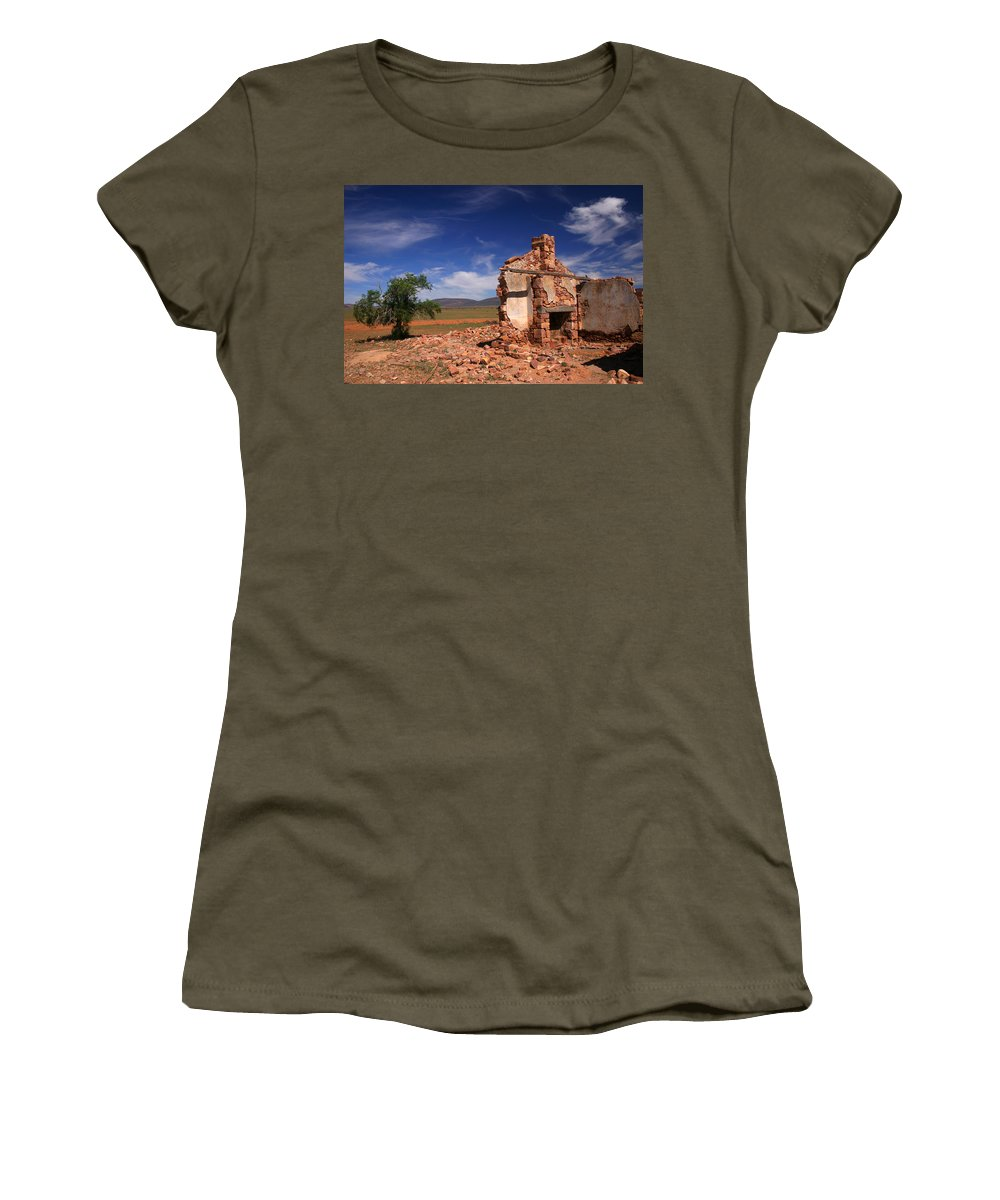 Cottage Women's T-Shirt (Athletic Fit) featuring the photograph Farmhouse Cottage Ruin Flinders Ranges South Australia by Ralph A Ledergerber-Photography