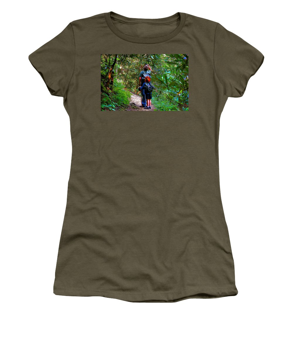 Father Women's T-Shirt featuring the painting Father And Son by David Lee Thompson