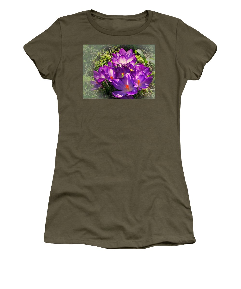 Crocus Women's T-Shirt (Athletic Fit) featuring the photograph February Crocus by Joyce Dickens